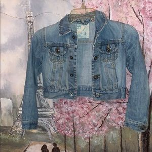 Old Navy faded snap closure crop jean jacket Jr SM
